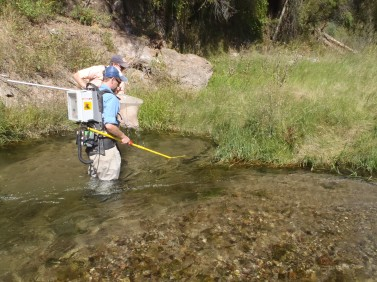 Sky Hedden and James Whitney sampling the fish community in the Gila River, New Mexico. Photo Credit: Garrett Hopper