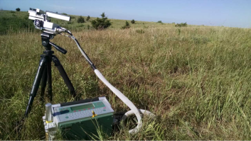 The infrared gas analyzer in action, using a laser to measure the carbon dioxide taken in as well as the oxygen and water released by the grass leaf it's attached to.